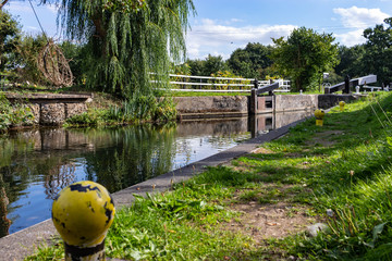 Water lock on Stort river Wall mural