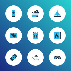 Journey icons colored set with matches, binoculars, credit card and other payment  elements. Isolated vector illustration journey icons.
