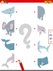 join halves of animals pictures activity game