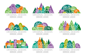 Green logo original design set, abstract organic design elements vector Illustrations
