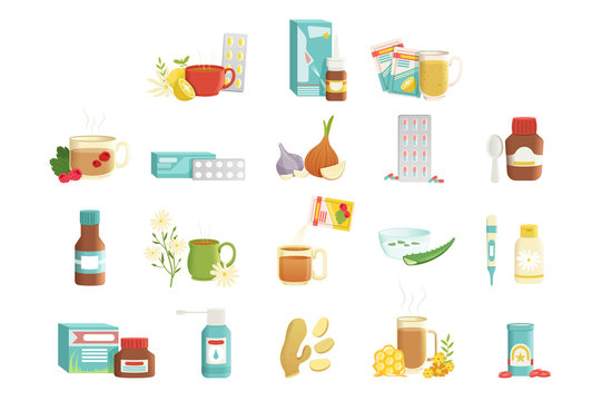 Flu icons set. Alternative and traditional treatments. Tea with raspberries, pills, onions, syrup, nose drops, drink with herbs and honey, throat spray. Flat vector