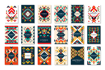 Fototapeta Colorful vector set of 9 card templates with geometric shapes. Abstract ethnic pattern. Elements for brochure, flyer or poster in trendy flat style obraz