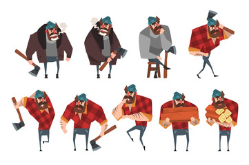 Cartoon set of lumberjack in different actions. Woodcutter with axe. Strong bearded man in hipster plaid shirt, jeans, sweater, jacket, hat. Flat vector design
