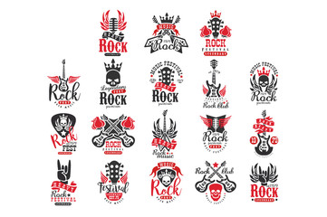 Set of vintage rock logos. Original monochrome emblems with guitars, skulls, roses, retro microphones, crowns and wings. Flat vector design for music festival