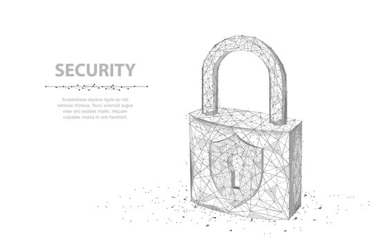 Lock. Abstract 3d wireframe lock isolated on white.