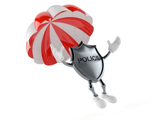 Police badge character with parachute