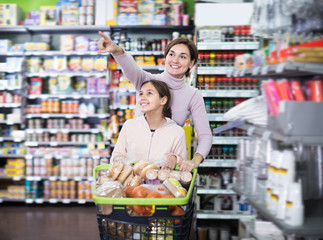 Smiling woman and girl with shopping cart