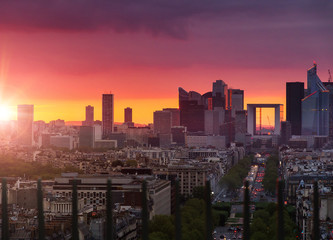Dramatic sunset over Paris, France, looking at La Defense from the Arc de Triomphe