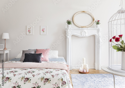 A Bright Bedroom Interior With An English Style Decor A Bed And A