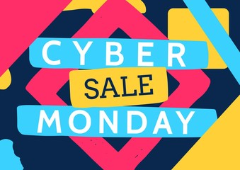 Cyber Monday Sale with colorful elements