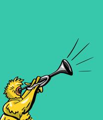Cartoon vogel blaast op een hoorn