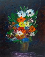 Blumenstrauß in Vase mit gespachtelten Hintergrund