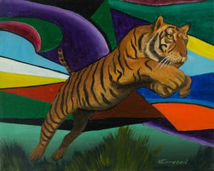 Springender Tiger vor einem bunten Hintergrund