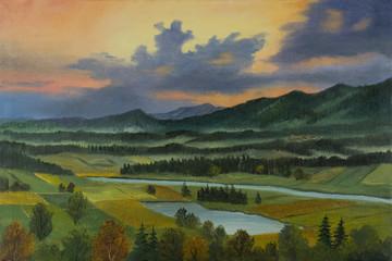 Landschaft mit Fluß und See in der Abenddämmerung