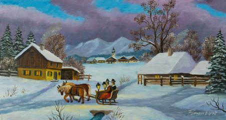 Zwei Personen sitzen auf einer Pferdekutsche