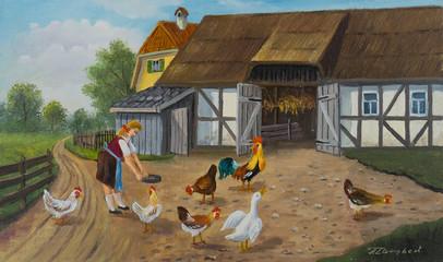 Mehrere Tiere im Garten auf einem Bauernhof