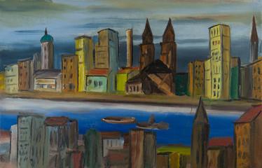 Stadt am Fluß mit Kirchen und bunten Häusern