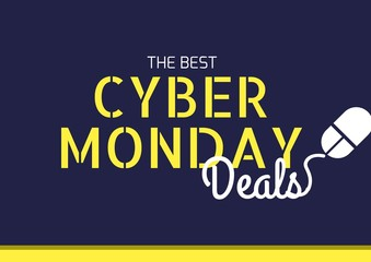 Cyber Monday Sale in blue and yellow with mouse