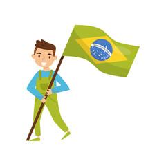 Boy holding national flag of Brazil, design element for Independence Day, Flag Day vector Illustration on a white background