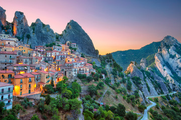 Castelmezzano, Italy. Cityscape aerial image of medieval city of Castelmazzano, Italy during beautiful sunrise.
