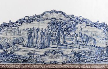 ALCOBACA, PORTUGAL - Azulejos depicting a religious scene in the Mosteiro de Santa Maria