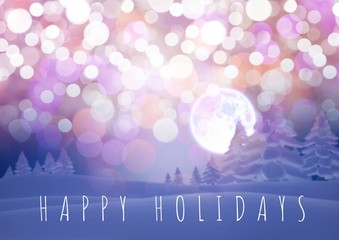 Happy holidays text with magical lights and Winter forest