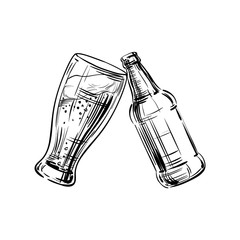 Glass, mug of beer with frothy head and a bottle with a drink being clinked together, as done at a convivial or celebratory toast. Hand drawing Sketch for menu the restaurant, pub, bistro, bar. Vector