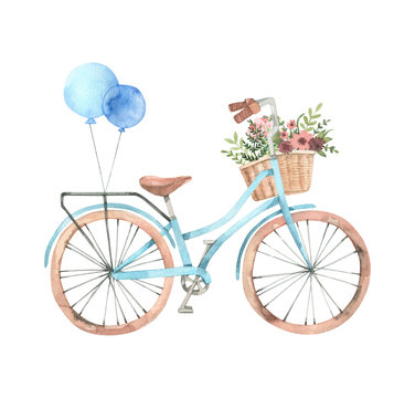 Hand drawn watercolor illustration - Romantic bike with flower basket in pastel colours. City bicycle. Amsterdam. Perfect for invitations, greeting cards, posters, prints