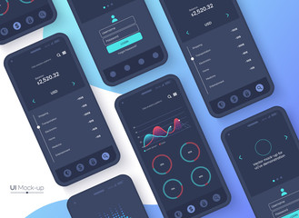 Conceptual black mobile phones for user interface, user experience presentation. Smartphone mock-up on blue gradient background. Mobile app design concept. Vector eps 10.