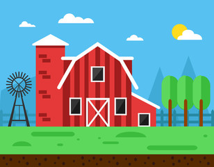 Flat farm landscape with farmhouse.Farming agriculture concepts.Vector stock.