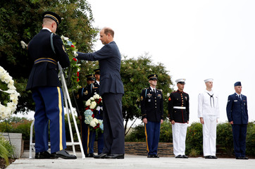 Britain's Prince Edward places a wreath during the 17th annual September 11 observance ceremony at the Pentagon in Washington