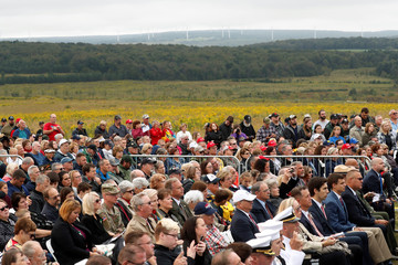 A crowd of family members of the victims and other guests attend the 17th annual September 11 observance at the Flight 93 National Memorial near Shanksville in Stoystown, Pennsylvania