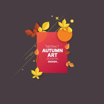 Autumn vector frame wirth autumn dried orange colored leaves. Useful graphics in vector Eps 10