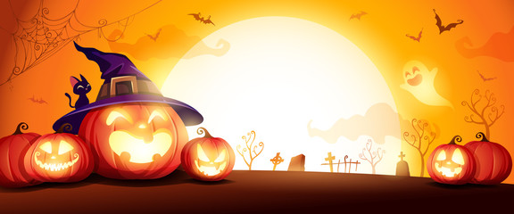 Halloween pumpkin patch in the moonlight. Jack O Lantern party. Horizontal banner.