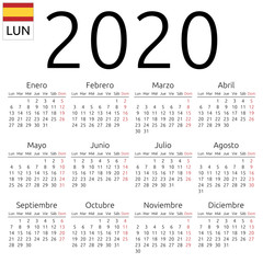 Calendar 2020, Spanish, Monday
