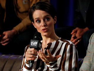 "Actor Claire Foy speaks during a news conference to discuss the movie ""First Man"" at the Toronto International Film Festival in Toronto"