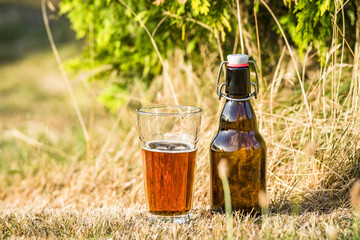 Golden beer in a glass with a bottle next to