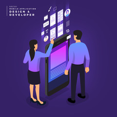Isometric business UI/UX Team