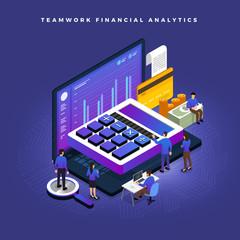 Isometric financial teamwork