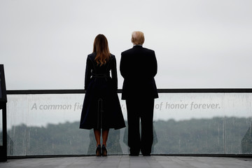 U.S. President Trump and Melania Trump stand at the Flight 93 National Memorial near Shanksville, Pennsylvania