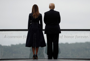 U.S. President Trump and Melania Trump look out from the Flight 93 National Memorial near Shanksville, Pennsylvania