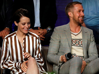 """Actors Claire Foy and Ryan Gosling attend a news conference to discuss the movie """"First Man"""" at the Toronto International Film Festival in Toronto"""
