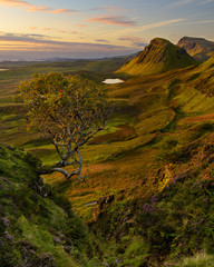 Morning sunlight at Quiraing on the Isle Of Skye, Scotland, UK.