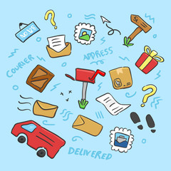 Doodle hand drawing post office or logistic object element painted color