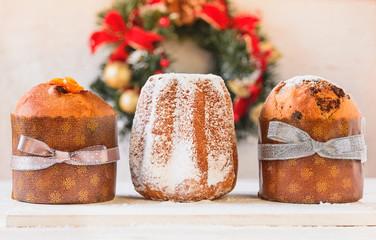 Panettone and pandoro traditional Italian Christmas cakes.