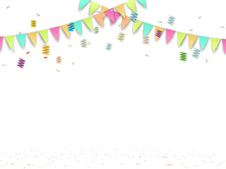 party flag and confetti  on white