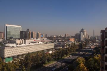 Panoramic of Santiago de Chile in las Condes, view of Parque Arauco luxury mall