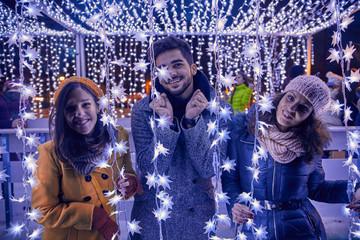 Friends On Christmas Market