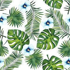 watercolor pattern of tropical palm leaves and blue hibiscus flowers