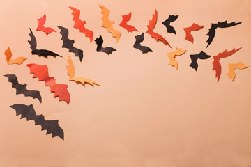 paper bats on paper background